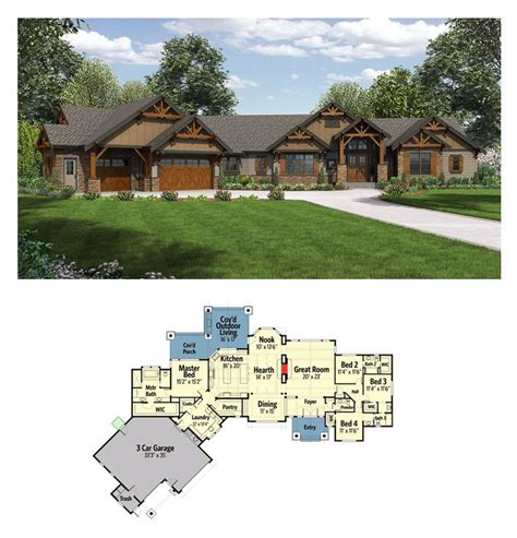house plans with attached garage plan 23609jd one story mountain ranch home ranch homes