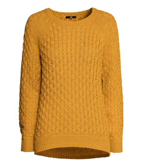 mustard yellow knit sweater h m knitted jumper in orange lyst