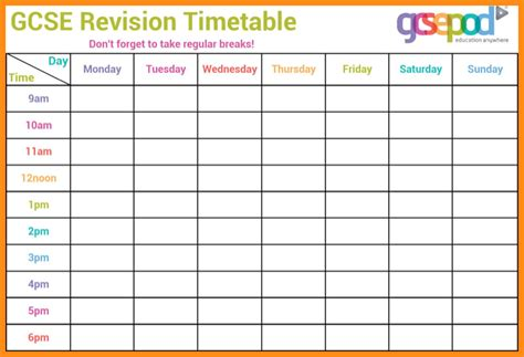 printable revision calendar 10 revision timetable template musicre sumed