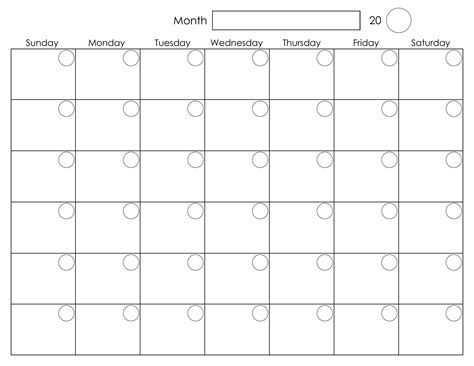 Blank Calendar Template Free printable blank monthly calendar activity shelter