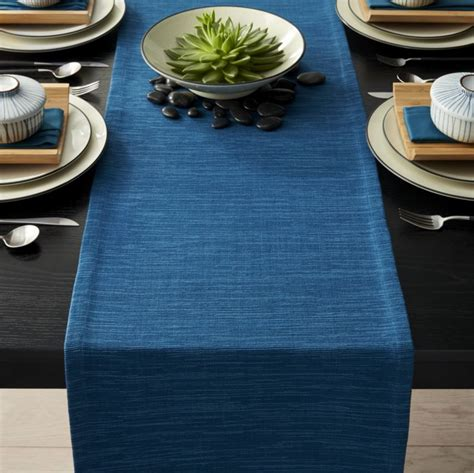 table runners grasscloth 90 quot corsair blue table runner reviews crate