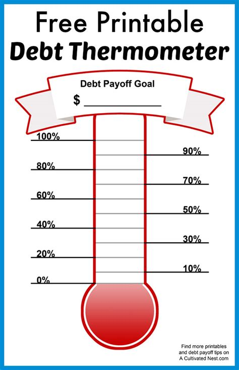 Free Printable Debt Thermometer Debt Repayment Stay Printable Thermometer Chart