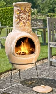 Chimineas And Fire Pits - large mexican clay chimenea sunset yellow 163 94 99 garden4less uk shop