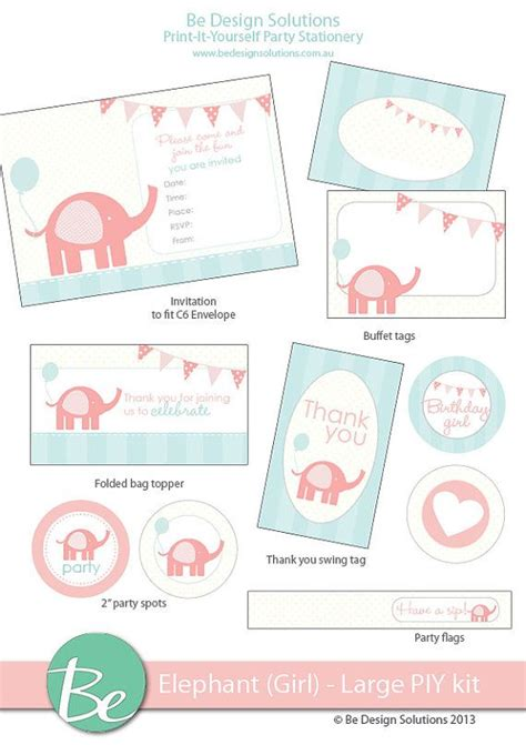 printable elephant stationery 39 best coral blue elephant themed 1st birthday party