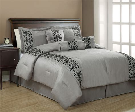 7pcs queen penelope black and gray comforter set ebay