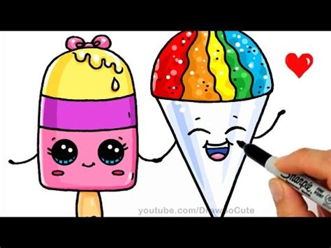 draw sweet treats summer treats how to draw a popsicle and snow cone easy