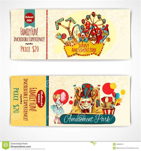theme park tickets amusement park tickets stock vector image 52588378