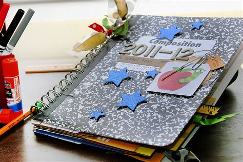 Materials For Paper - make a cinch bound memory album with recycled school supplies