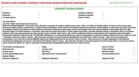 Board Operator Cover Letter by Radio Board Operator Announcer Title