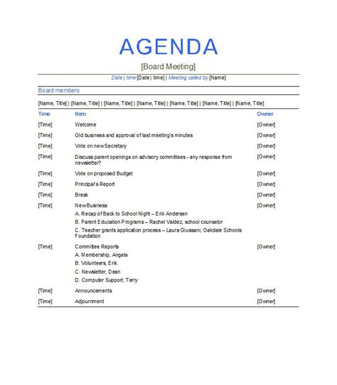 board meeting agenda template agenda outline template sles vlashed