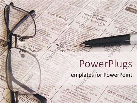powerpoint template open newspaper with pen and