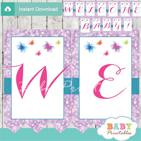 Purple Baby Shower Banner by Purple Bokeh Butterfly Baby Shower Banner D237 Baby