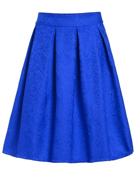 blue patterned midi skirt jacquard blue midi skirtfor women romwe