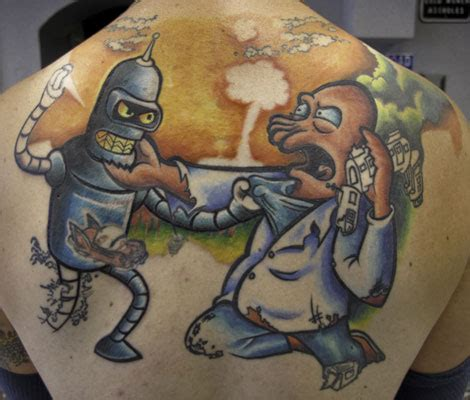 bender tattoo 15 futurama tattoos from zoidberg to