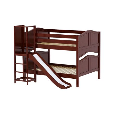 Bunk Bed Platform Maxtrixkids Chant Cc Low Bunk Bed With Slide Platform On Side Chestnut Curved Chant Cc