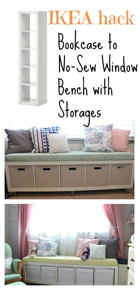 ikea hack window bench bookcase to no sew window bench with storages ikea hack