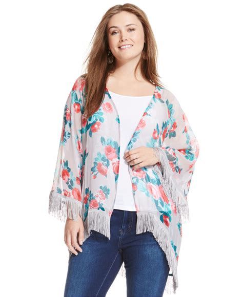 Wst 7390 Fringed Cardigan Black plus size floral print fringed kimono