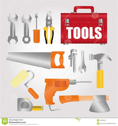 design concept tools under construction design stock vector image 61989635