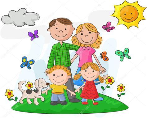 imagenes animadas sobre la familia dibujos animados familia feliz frente a un paisaje hermoso
