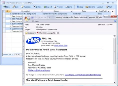 Microsoft Access Email Add in program emails messages with