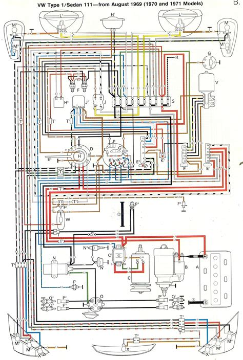 the entire wiring diagram for a 1970 vw beetle fits on one