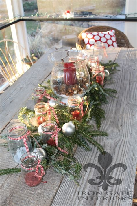 christmas centerpiece with mason jars candles fresh