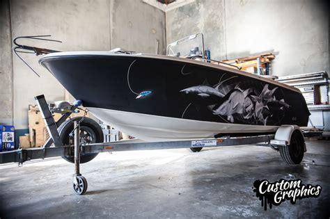 black vinyl boat wrap matte black printed boat wrap wrapfolio