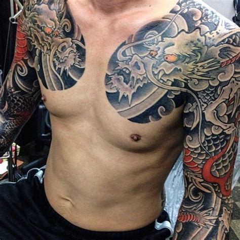 japanese chest tattoo designs 83 alluring half and sleeve tattoos
