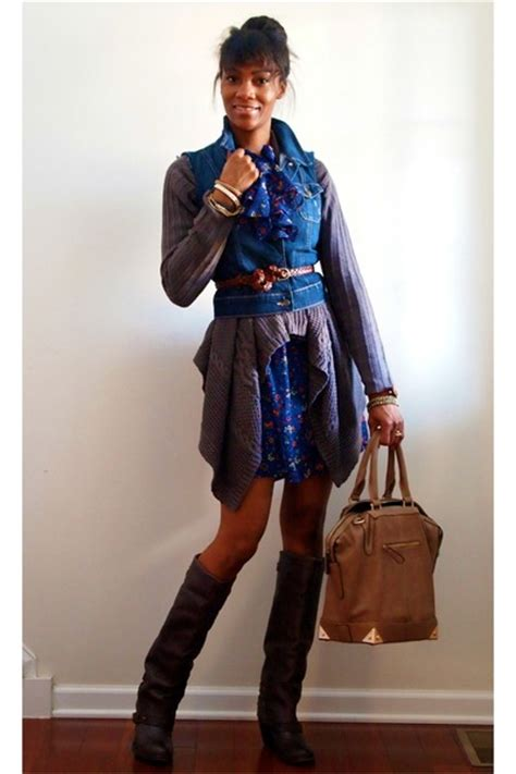 blue jean dress with boots blue denim navy vests brown boots blue