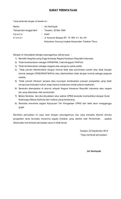 Surat Pernyataan Cpns by Surat Pernyataan Cpns