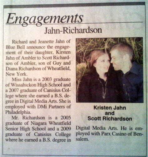 Newspaper Engagement Announcement Template by Engagement Announcement Kirsten S Wedding
