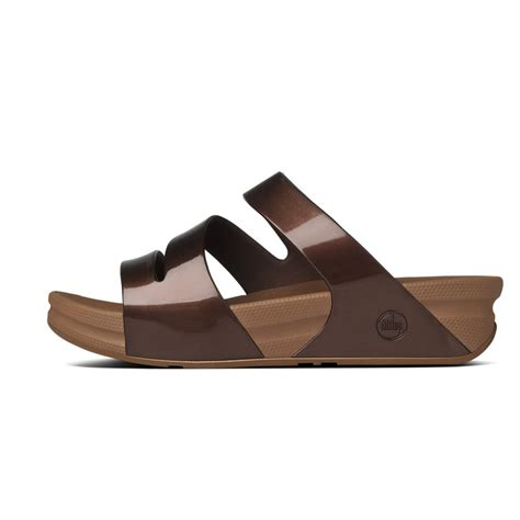 Fitflop Twist fitflop fitflop design superjelly twist slip on sandal in bronze with microwobbleboard sole