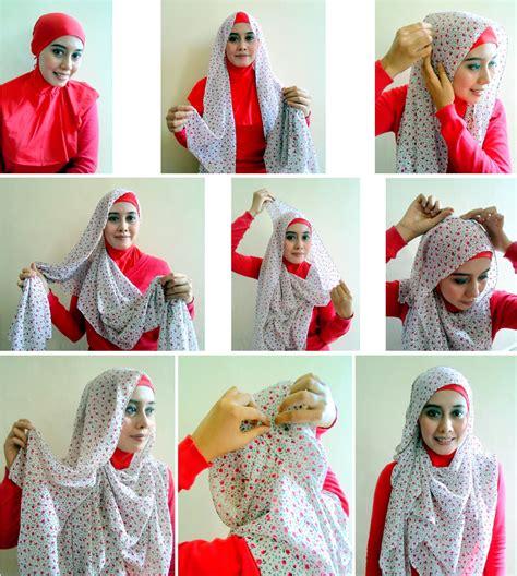 Tutorial Turban Pashmina Motif | tutorial hijab pashmina motif bunga cantik cara memakai