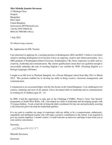 Esl Instructor Cover Letter by Cover Letter Esl Haadyaooverbayresort