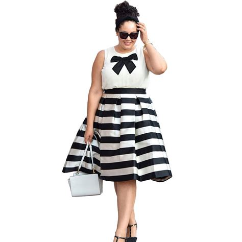 Black White Sleeveless Dress 1 new 2016 summer fashion s black and white plus size sleeveless dress suit sets tops tank