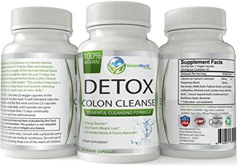 Cleanse And Detox Pills by Green World Vitamins Herbal Detox Colon Cleanse 100