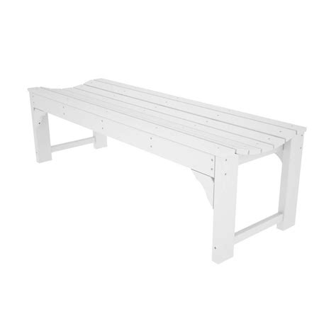 white plastic bench shop polywood traditional garden 20 in w x 60 in l white