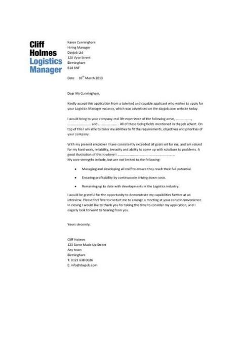 cover letter for internship logistics logistics manager cv template exle description