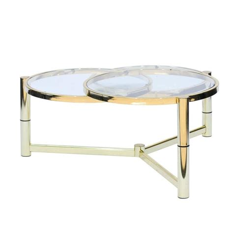 Mid Century Italian Brass And Glass Coffee Table With Rotating Glass Coffee Table