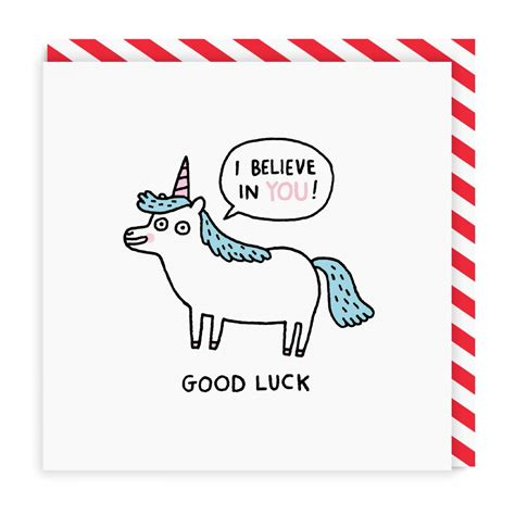 gud luck good luck unicorn square greeting card ohh deer trade