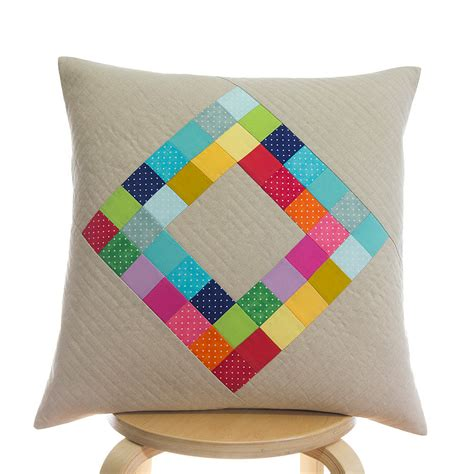 Patchwork Pillow - quilted pillow cover 50cm x 50cm handmade patchwork