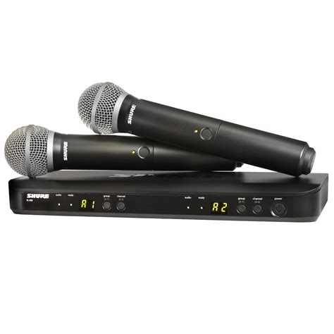 Mic Wireless Shure Ym 98 2 Mic Pegang shure blx288 pg58 dual wireless system with 2 pg58 microphones