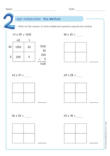 Multiplication Boxes Worksheets by Box Method Partial Products Multiplication Pdf