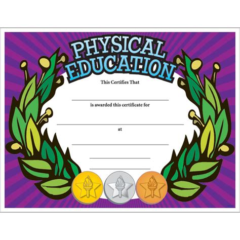 physical education certificates samweiss physical education colorful certificate jones school supply