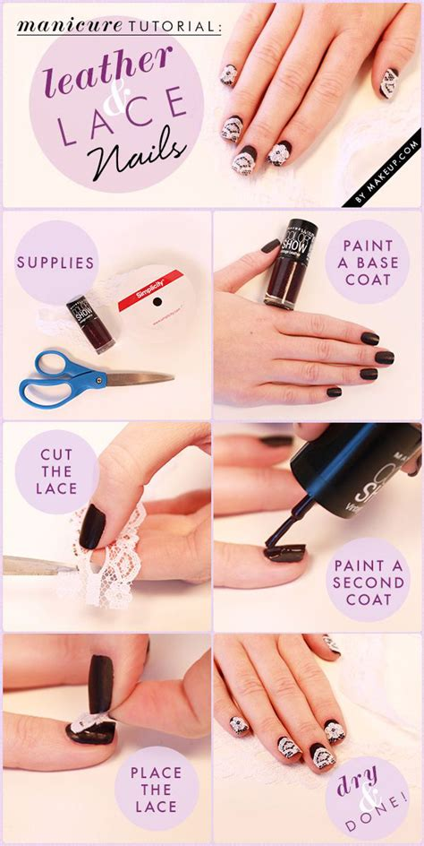 nail art lace tutorial leather lace nail art diy alldaychic