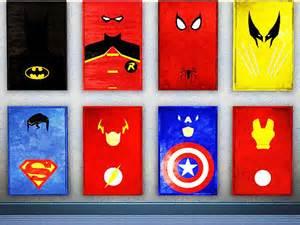Captain America Room Decor Minimalist Superhero Posters Geek Decor Home Decor For