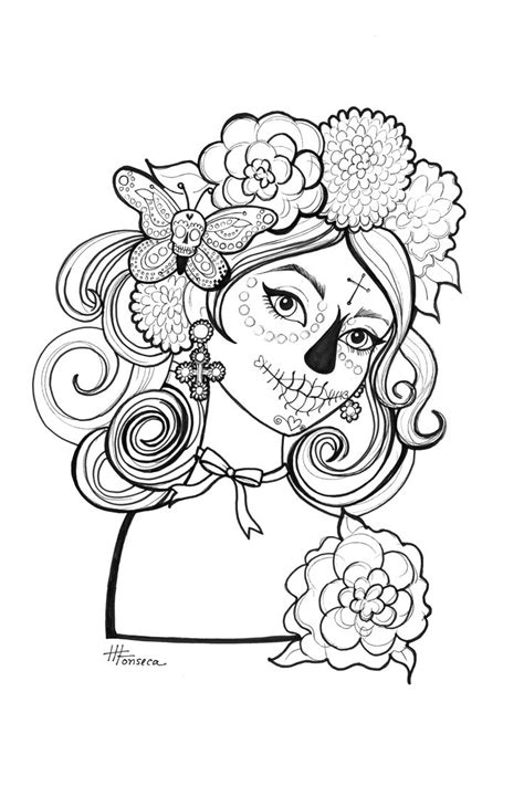 halloween coloring pages day of the dead here is one of three day of the dead coloring pages for