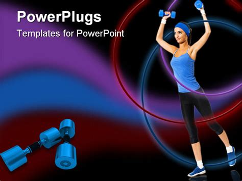 fitness powerpoint templates powerpoint template a model exercising with the help of