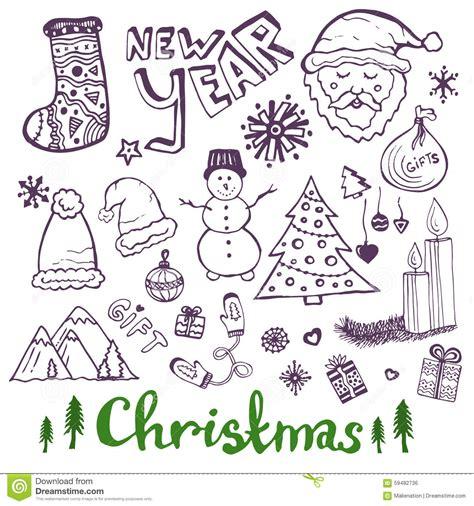 doodle happy new year happy new year sketch doodle set stock vector