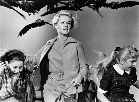 tippi hedren and children in a scene from the birds 1963